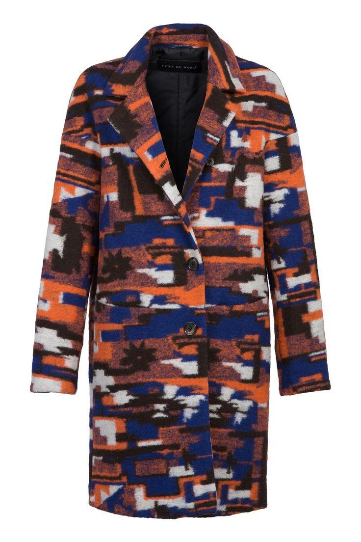 Blue orange - Oversized wollen jas.