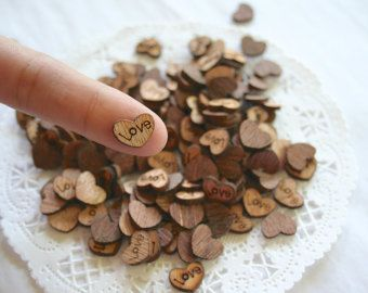 100 TINY WOODEN BLANK Hearts Wedding Confetti by SwoonPartyShop