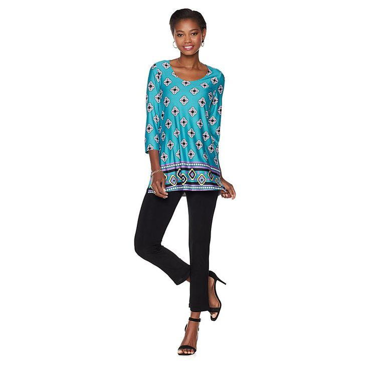 Slinky® Brand Border-Print Long Tunic and Skinny Pant Set - Tpebrnlprdfeathrs