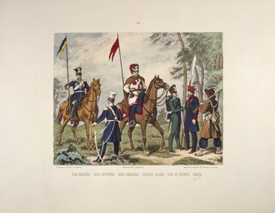 Infantry and cavalry - page 9 of a Polish illustrated album commemorating the November Uprising in 1831, published by Karol Kozlowski, printed by Czcionkami Drukarni Dziennika Poznan Boskiego, c.1887 Wall Art & Canvas Prints by Juliusz Fortunat Kossak