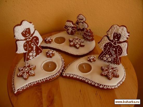 Пряничные рождественские подсвечники