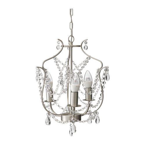 $39.99 IKEA: KRISTALLER Chandelier, 3-armed, silver color, glass silver color/glass ,great looking,glass not plastic, hang over bed or vanity area
