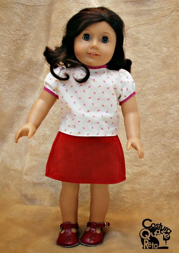 Roupa de boneca (18 polegadas) -costura Sewing American girl doll clothes Costura Quase Reta