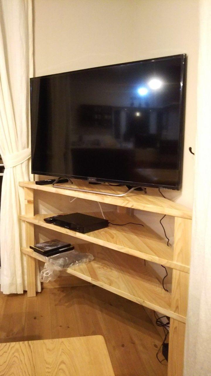 ひのき変形三角コーナーテレビ台 No1707003 コーナー 家具 テレビ台 コーナー 三角コーナー