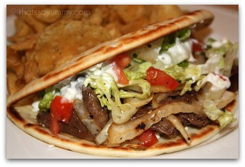 Greek Steak Gyro.... made this today with chicken... best gyro recipe i've seen yet and dez even liked em... yummy sauce, make it ahead so the flavors set in ;)