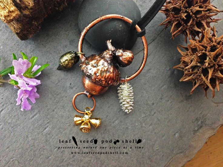 This beautiful acorn is preserved in an antique copper finish.  It comes with three companions, a bright silver cone, a gold gum nut trio and an antique brass gum nut. In store now. www.leafseedpodshell.com #leafseedpodshell #crystal #crystals #electroform #electroforming #electroformed #jewelry #jewellery