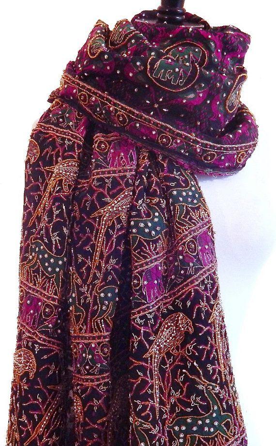 Heavy Beaded Shawl Indian Sari Scarf Black Silk by MiriTextiles, $75.00