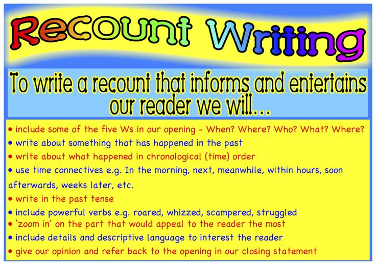 Recount writing success criteria.  Classroom Treasures: Recount Writing