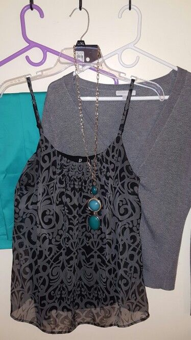 Teal pants, black and grey tank, grey cardigan, ny&co necklace