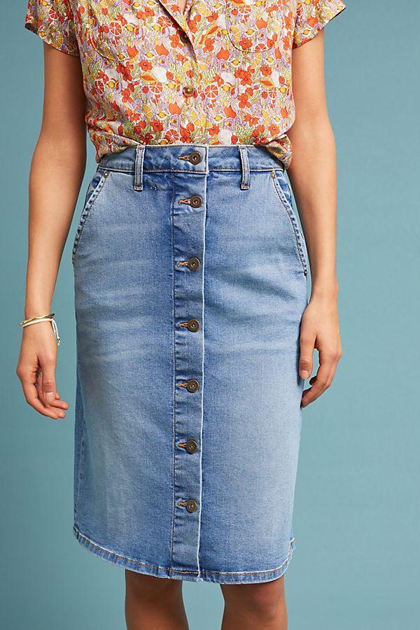 059433cac08e Slide View  2  Pilcro Button-Front Denim Skirt