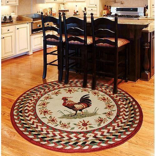 French Country Brick Red Green Tan Rooster Sunflower Kitchen Area Rug Carpet 63
