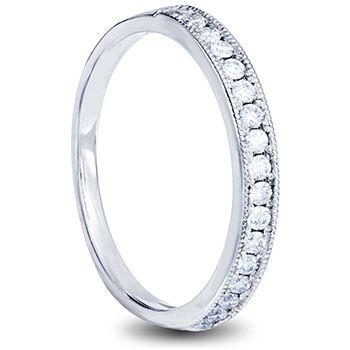 18ct white gold beveled ladies wedding band with pave set diamonds