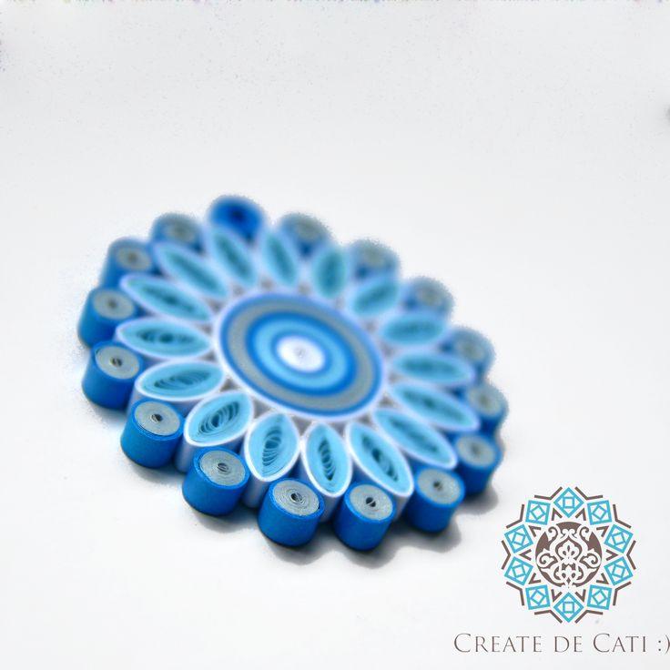 Blue mandala - quilling pendant