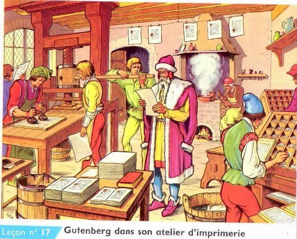 Gutenberg dans son atelier d'imprimerie