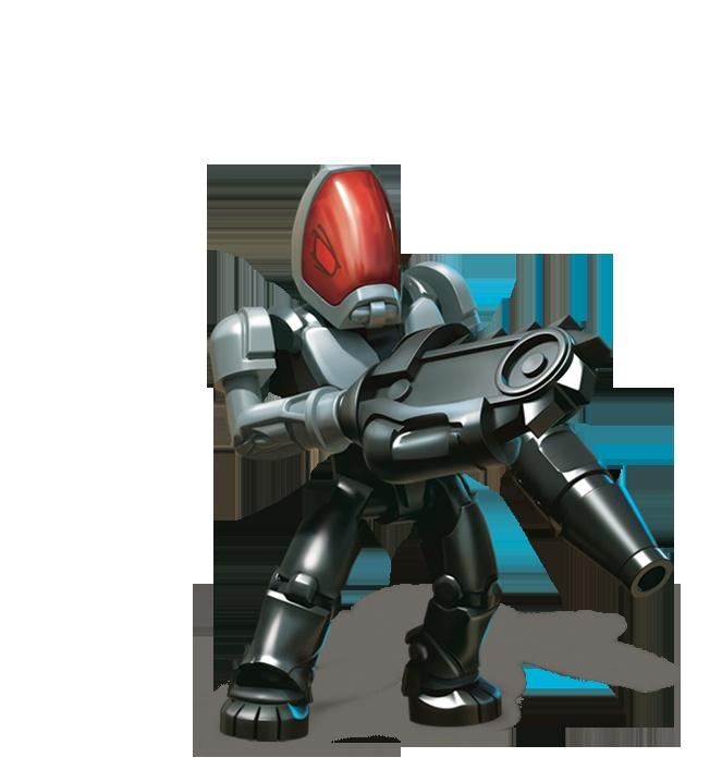 Alien Commander: De commandant van de Aliens regeert met ijzeren vuist. Wie hem stoort terwijl hij z'n volgende aanval plant of z'n status op Faceblok updatet, kan maar beter dekking zoeken!