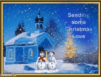 Snowman and woman - Christmas Love wishes