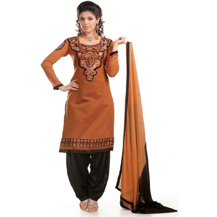 Fashionx Brown & Black Chanderi Cotton Embroidery work Dress Material