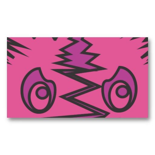 Pink and lilac monster face business card #businesscards