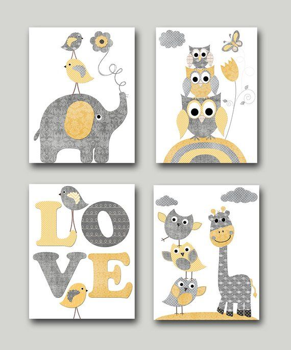 Yellow Grey Baby Boy Neutral Nursery Canvas Elephant Nursery Quotes Art Baby Nursery Art Nursery Wall Art Kids Room Decor Kids Art set of 4