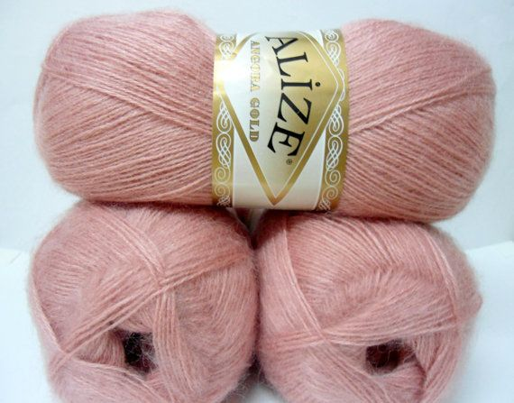 Tea rose wool mohair acrylic  yarn  1 Skeins Each by Yarnshopping