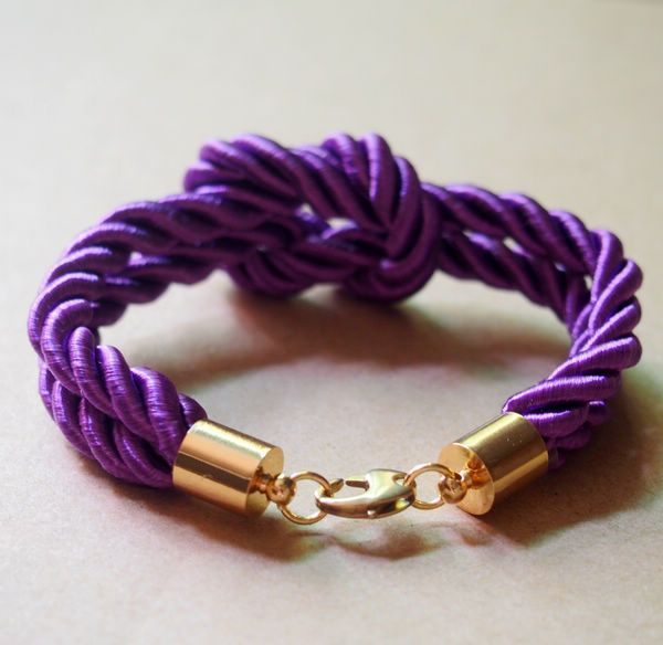 Silk Rope Knotted Bracelet for Men Women, Purple Silk Rope, pure copper accessories Jewelry--Best Gift for Him Her | Personalized Bracelets | Custom ...