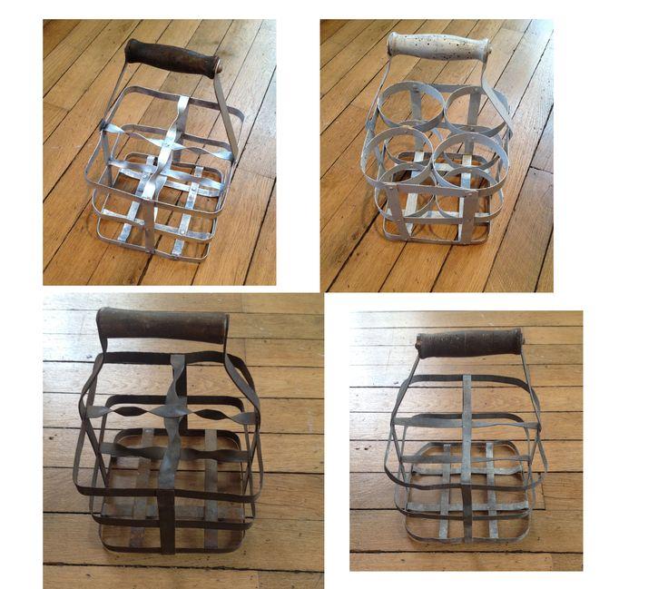 Antique French wine bottle / milk bottle transport / carry racks