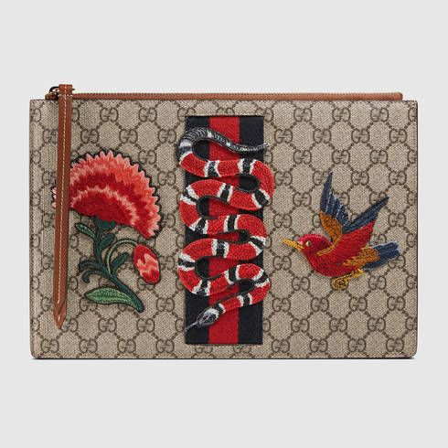 GUCCI Embroidered Gg Supreme Pouch. #gucci #women's cosmetic bags
