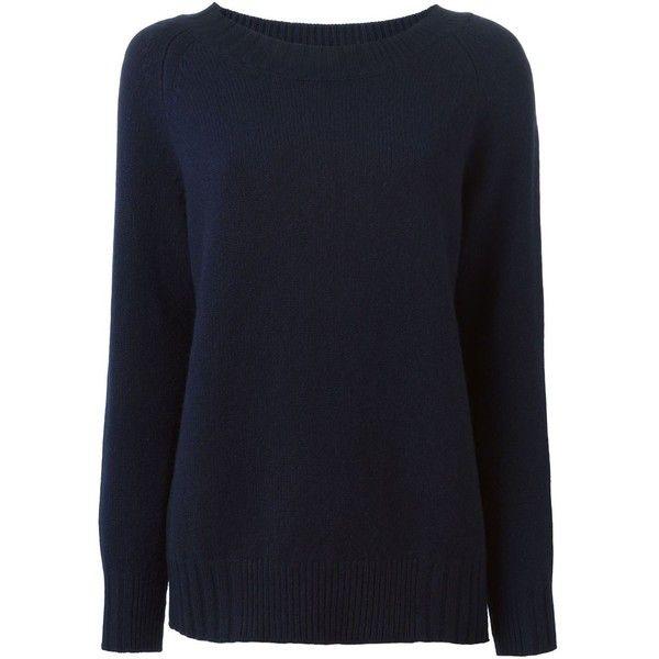 Kristensen Du Nord Crew Neck Sweater ($595) ❤ liked on Polyvore featuring tops, sweaters, kristensen du nord, blue crewneck sweater, crew-neck sweaters, crew neck tops and crewneck sweater