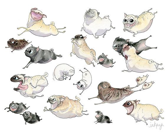 Pug Heaven Art Print - A happy flying pugs grumble is on the run in this cute pug illustration featuring fawn, brindle and black pugs!