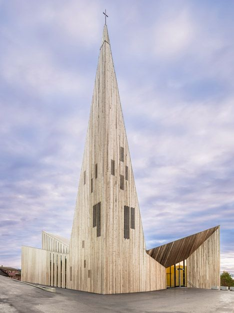 """Community Church, Knarvik by Reiulf Ramstad """"Inspired by the local tradition of Norwegian stave churches, the building utilises clear and elemental geometries, materials and constructions,"""""""