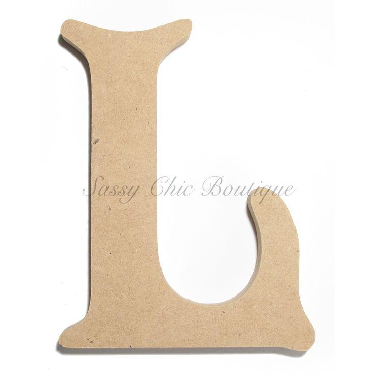 "Unfinished Wooden Uppercase Letter ""L"" - Victorian Font"