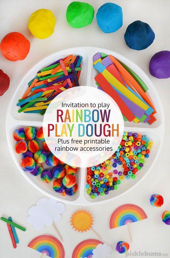 Rainbow Play Dough Invitation to Play - plus free printable rainbow accessories