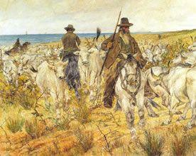 """""""Butteri e bestiame al pascolo"""", Giovanni Fattori, 1893; olio su tela, 200x300 cm; il quadro è conservato al Museo civico Giovann Fattori, Livorno."""