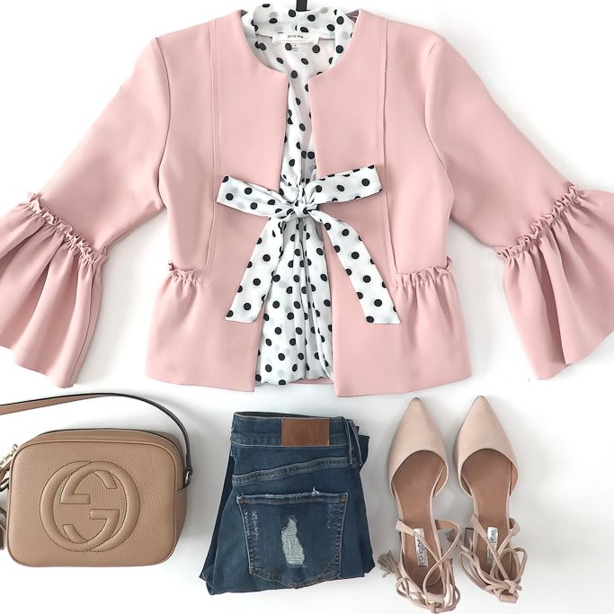 Gucci soho disco leather bag, Halogen Iris Lace-Up d'Orsay Pump, polka dot tie neck blouse, River Island Petite dark blue distressed Amelie jeans, Topshop Crop Frill Raw Jacket