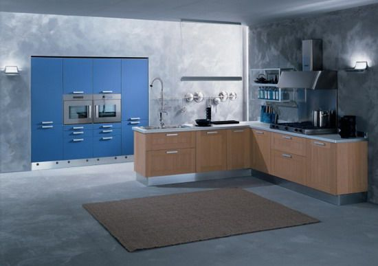 Grey-Wall-Design-and-Blue-Cabinets-in-Modern-Kitchens.jpg 550×387 pixels