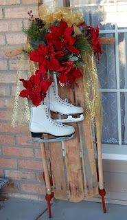 I decorated an old runner sled and my old ice skates to make an outdoor Christmas Decoration for my porch.