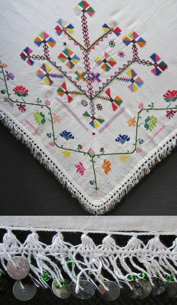 Close-up of the decorative edging of a 'yazma' (woman's head scarf) from the Bolu province. Mid-20th century. The 'iğne oyası' (Turkish needle lace) is combined with metal sequins and small green glass pearls. (Inv.nr. yaz001 - Kavak Costume Collection-Antwerpen/Belgium).