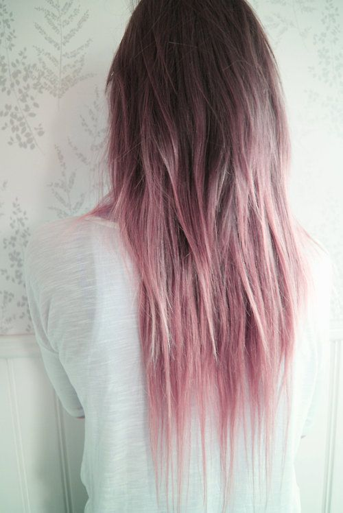 brown to pastel pink ombre