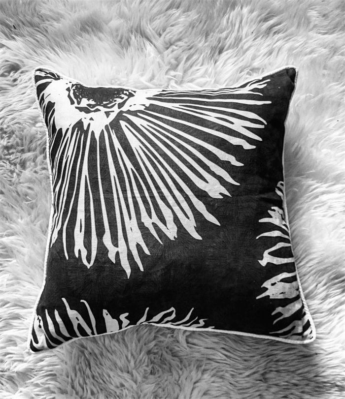 floral black and white cushion cover