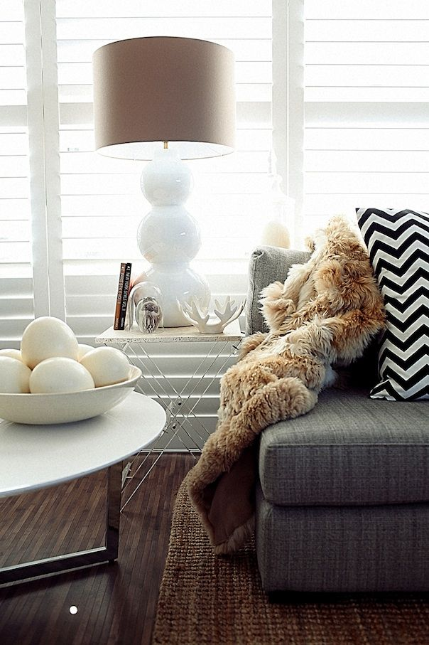 Family Room - white, grey, texture, black/white: Grey Couch, Lamps, Living Rooms, Color, Glitter Girls, Faux Fur Throw, Black White, Pillows, Chevron