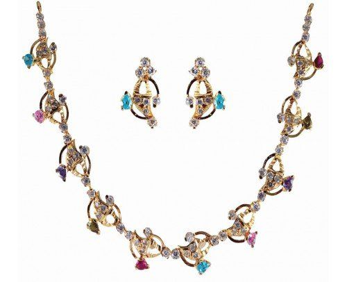 Add a Bling to your personality by matching up these American Diamond Necklace Set with your Favourity Dress.Match the Necklace Set with American Diamond in multi colour with your favourity Dress for that perfect occasion.Perfect for party or any occasion.