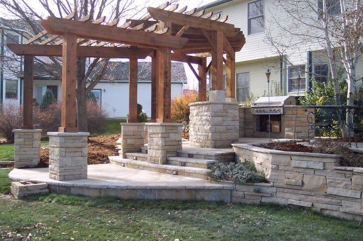 Wood Pergola Natural Stone Columns Amp Walls Outdoor Rooms
