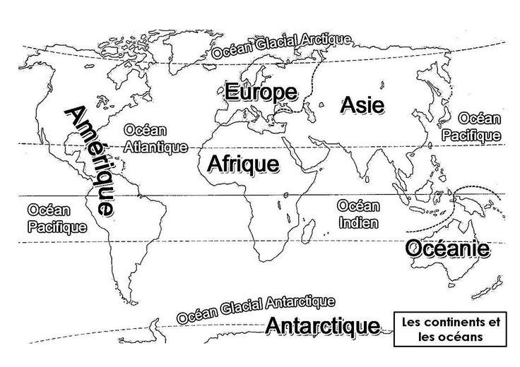 Océans et continents à colorier.