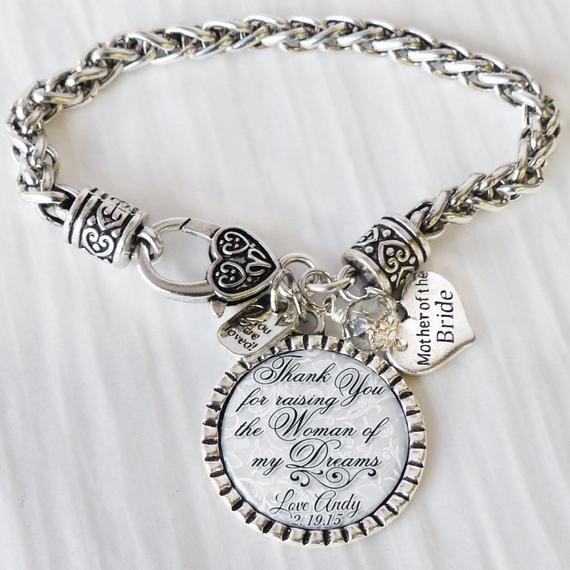 Mother of the Groom Gift Wedding Gifts for Parents Thank you Jewelry for Mother of the Groom Date Jewelry Personalized Wedding Bracelet