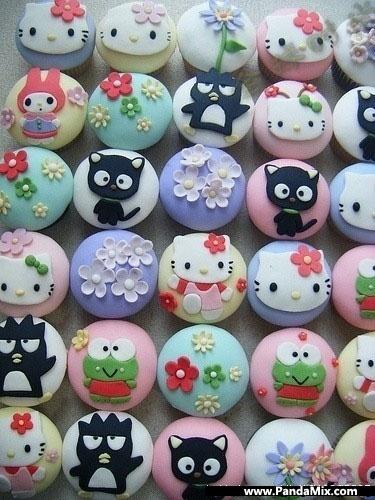 Olhem estes cupcakes da turma da Hello Kitty tb! Fofos!