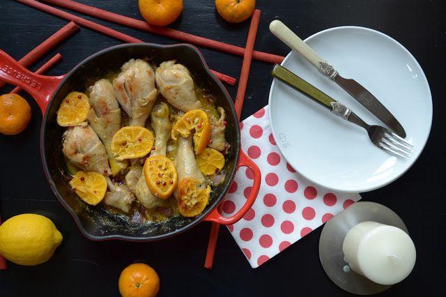 cosce di pollo al mandarino e pepe rosa