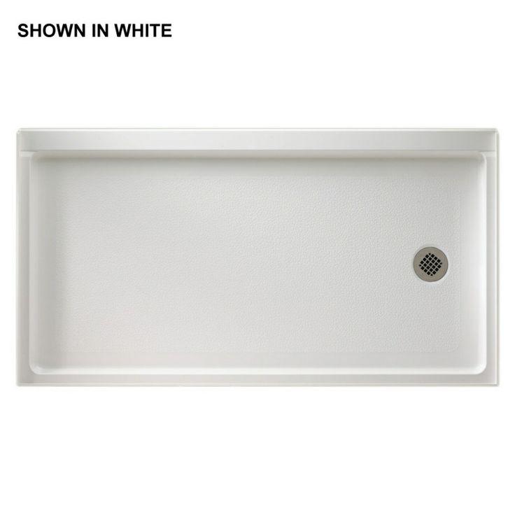 shop swanstone 60in l x 32in w white fiberglass shower base