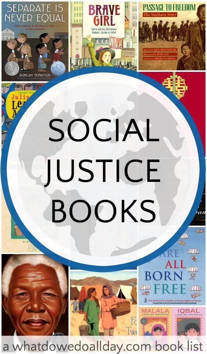 A list of social justice books for kids to teach them about global issues. Teaching compassion and understanding. From /momandkiddo/