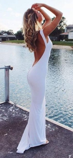 Simple Sexy Long Mermaid Open Back Cheap Withe Prom Dresses,Prom Gowns,Evening Dresses http://21weddingdresses.storenvy.com/products/16742256-real-pretty-long-simple-cheap-white-mermaid-prom-dresses-evening-dresses