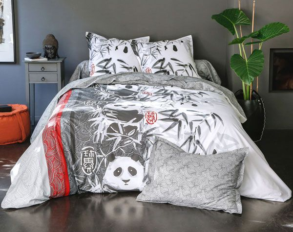Linge De Lit Pandas Et Bambous Linge De Lit Deco Asiatique Couette Panda